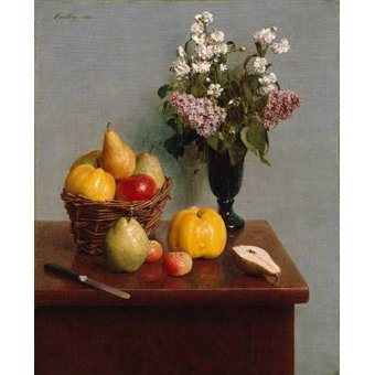 naturezas mortas - Quadro -Still Life with Flowers and Fruit- - Fantin Latour, Henri
