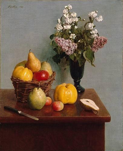 naturezas-mortas - Quadro -Still Life with Flowers and Fruit- - Fantin Latour, Henri