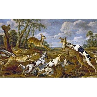 cuadros de fauna - Cuadro -Cazeria de corzos (Caza)- - Paul de Vos
