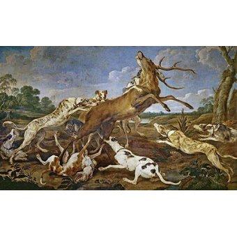 quadros de animais - Quadro -Ciervo acosado por una jauría de perros (Caza)- - Paul de Vos