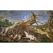 Quadro -Ciervo acosado por una jauría de perros (Caza)-