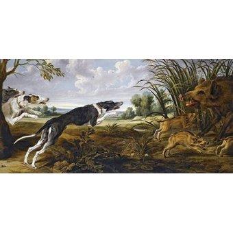 quadros de animais - Quadro -Cazeria de jabalies (Caza)- - Paul de Vos