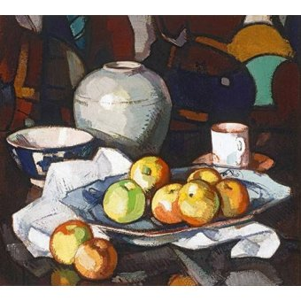 naturezas mortas - Quadro -Still life apples and jar- - Peplow, Samuel