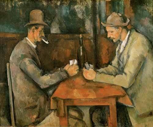 cuadros de retrato - Cuadro -Los jugadores de cartas, 1890- - Cezanne, Paul