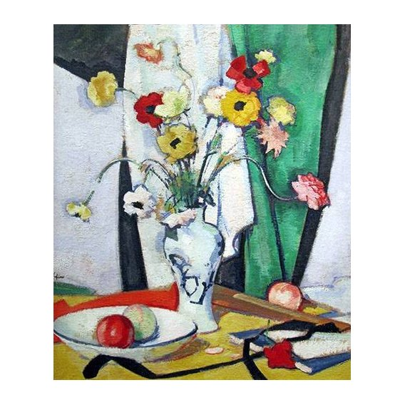 naturezas mortas - Quadro -Still life with flowers fruit and fan-