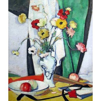 cuadros de bodegones - Cuadro -Still life with flowers fruit and fan- - Peplow, Samuel