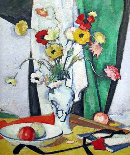 naturezas-mortas - Quadro -Still life with flowers fruit and fan- - Peplow, Samuel