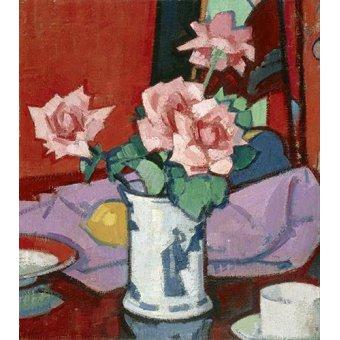 quadros de flores - Quadro -Pink Roses, Chinese Vase- - Peplow, Samuel