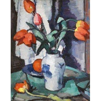 flowers - Picture -Orange tulips, Chinese Vase- - Peplow, Samuel