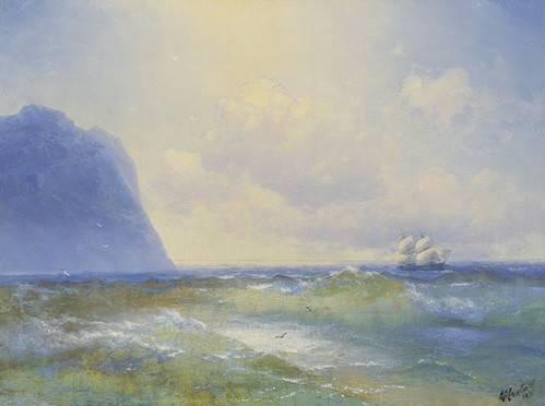 quadros-de-paisagens-marinhas - Quadro -Ship at sea- - Aivazovsky, Ivan Konstantinovich