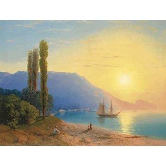 quadros de paisagens marinhas - Quadro -Atardecer sobre Yalta- - Aivazovsky, Ivan Konstantinovich