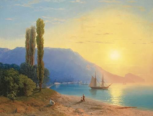 quadros-de-paisagens-marinhas - Quadro -Atardecer sobre Yalta- - Aivazovsky, Ivan Konstantinovich