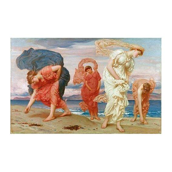 pinturas do retrato - Quadro -Jovenes griegas recogiendo guijarros al borde del mar-