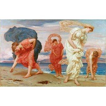 - Quadro -Jovenes griegas recogiendo guijarros al borde del mar- - Leighton, Frederick