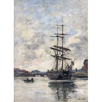 - Quadro -Ship on the Touques, 1888- - Boudin, Eugene