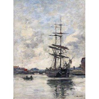 quadros de paisagens marinhas - Quadro -Ship on the Touques, 1888- - Boudin, Eugene
