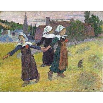 pinturas de retratos - Quadro -Breton Girls Dancing, Pont-Aven- - Gauguin, Paul