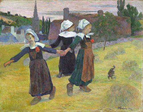 pinturas-de-retratos - Quadro -Breton Girls Dancing, Pont-Aven- - Gauguin, Paul
