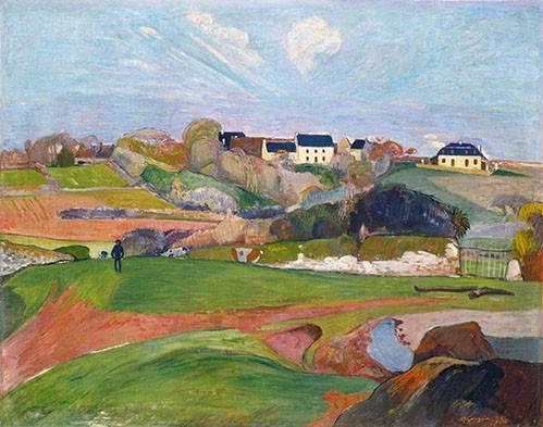 quadros-de-paisagens - Quadro -Paisaje en Le Pouldu, 1890- - Gauguin, Paul