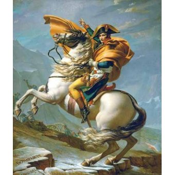 pinturas de retratos - Quadro -Bonaparte cruzando los Alpes, 1801- - David, Jacques Louis