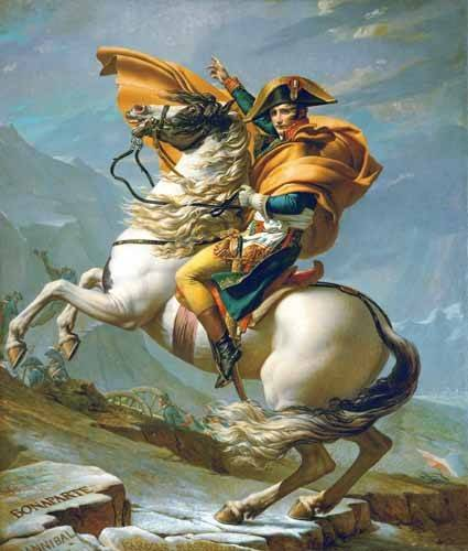 pinturas-de-retratos - Quadro -Bonaparte cruzando los Alpes, 1801- - David, Jacques Louis