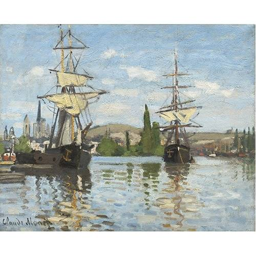 pinturas de paisagens marinhas - Quadro -Ships Riding on the Seine at Rouen, 1872-