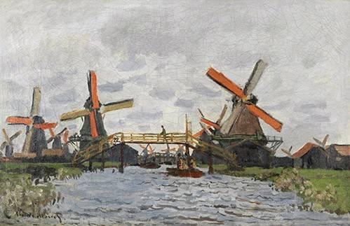 quadros-de-paisagens - Quadro -Windmills near Zaandam, 1871- - Monet, Claude