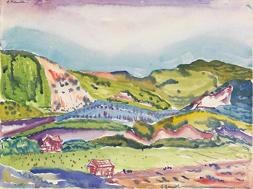 quadros-modernos - Quadro -Mountain with Red House- - Demuth, Charles