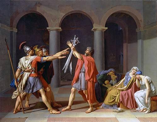 pinturas-de-retratos - Quadro -El Juramento De Los Horacios- - David, Jacques Louis