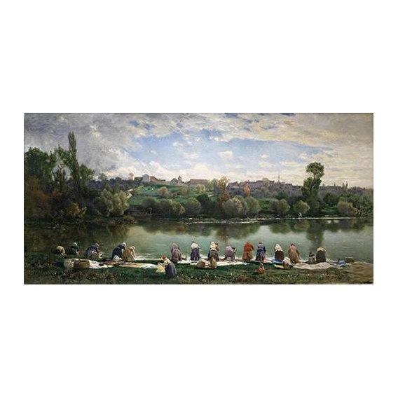 pinturas de paisagens - Quadro -Lavanderas De La Varenne (Francia)-