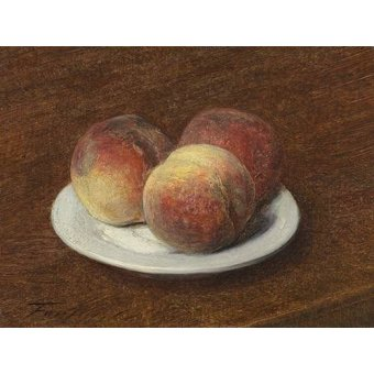 naturezas mortas - Quadro -Three Peaches on a Plate, 1868- - Fantin Latour, Henri