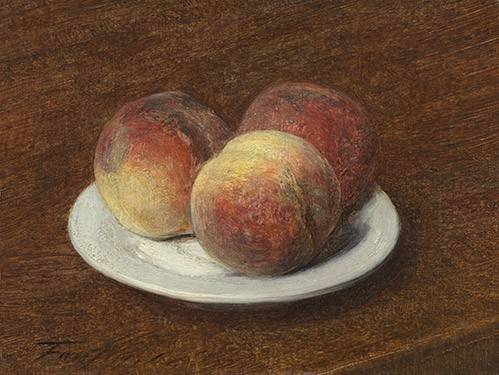 naturezas-mortas - Quadro -Three Peaches on a Plate, 1868- - Fantin Latour, Henri