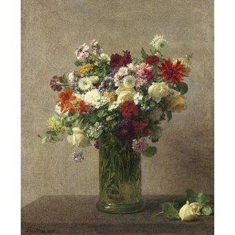 flowers - Picture -Flores en un jarron- - Fantin Latour, Henri
