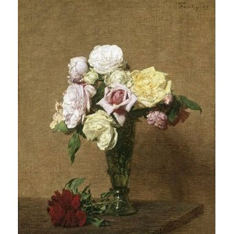 - Quadro -Still Life with Roses in a Fluted Vase- - Fantin Latour, Henri