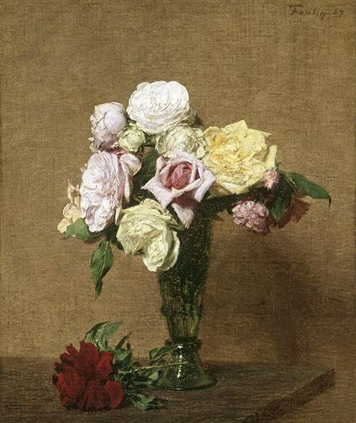 quadros-de-flores - Quadro -Still Life with Roses in a Fluted Vase- - Fantin Latour, Henri