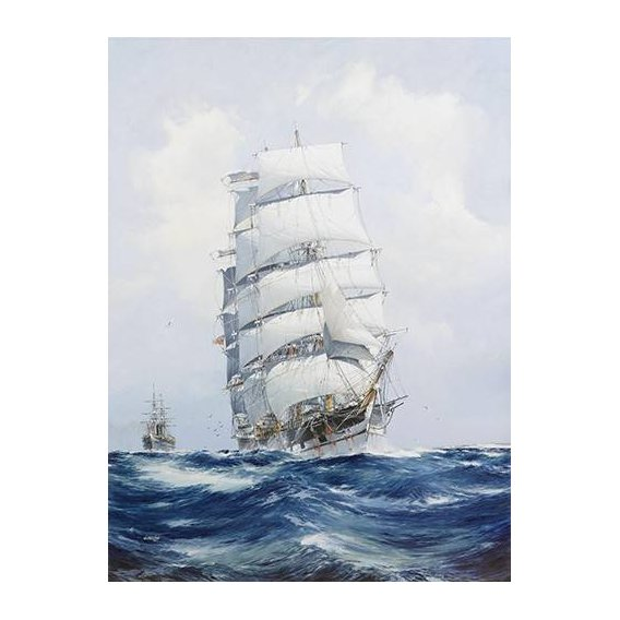 pinturas de paisagens marinhas - Quadro -The square-rigged wool clipper under full sail-