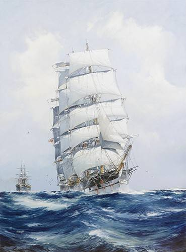 quadros-de-paisagens-marinhas - Quadro -The square-rigged wool clipper under full sail- - Spurlng, J.