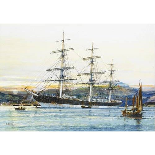 pinturas de paisagens marinhas - Quadro -The square-rigged Australian clipper -Old Kensington- lying on
