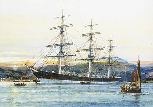 quadros-de-paisagens-marinhas - Quadro -The square-rigged Australian clipper -Old Kensington- lying on - Spurlng, J.