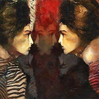 pinturas de retratos - Quadro -Moderno CM10233- - Medeiros, Celito