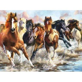 quadros de animais - Quadro -Moderno CM10750- (caballos) - Medeiros, Celito