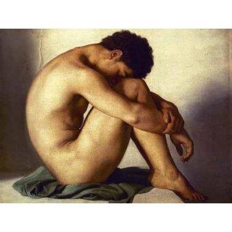 quadros nu artistico - Quadro -Estudio de un joven desnudo- - Flandrin, Hippolyte