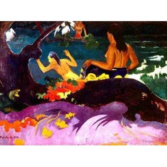 pinturas de retratos - Quadro -Fatata te Miti, 1892- - Gauguin, Paul