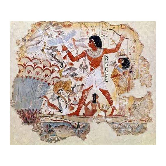 cuadros etnicos y oriente - Cuadro -Fresco en Thebes,- Casa de pajaros--