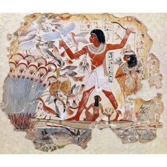 quadros étnicos e orientais - Quadro -Fresco en Thebes,- Casa de pajaros-- - _Anónimo Egipcio