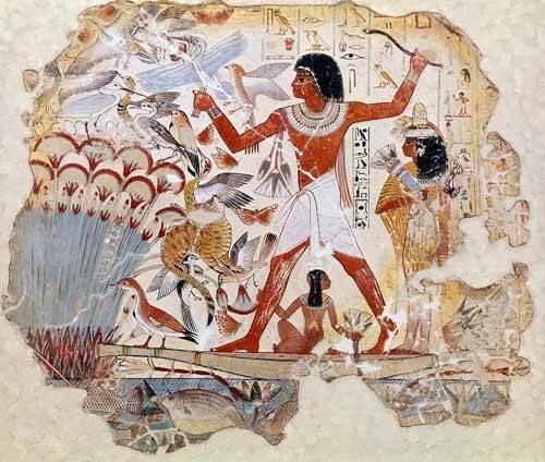 cuadros etnicos y oriente - Cuadro -Fresco en Thebes,- Casa de pajaros-- - _Anónimo Egipcio