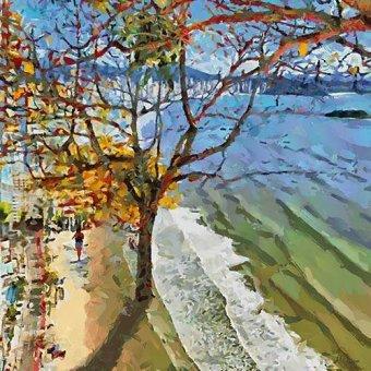 quadros de paisagens marinhas - Quadro -Moderno CM12587- - Medeiros, Celito