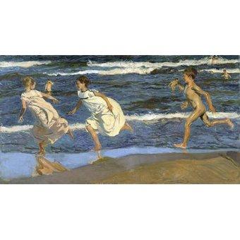 quadros de paisagens marinhas - Quadro -Correndo na praia- - Sorolla, Joaquin