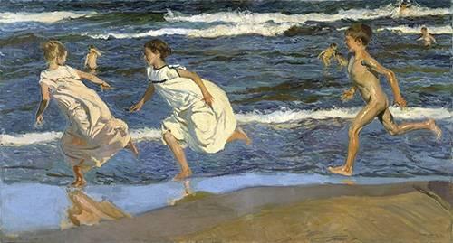 pinturas-de-retratos - Quadro -Correndo na praia- - Sorolla, Joaquin