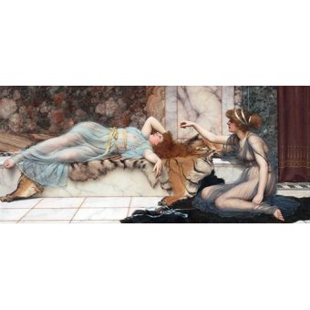 pinturas de retratos - Quadro -Mischief and Repose- - Godward, John William